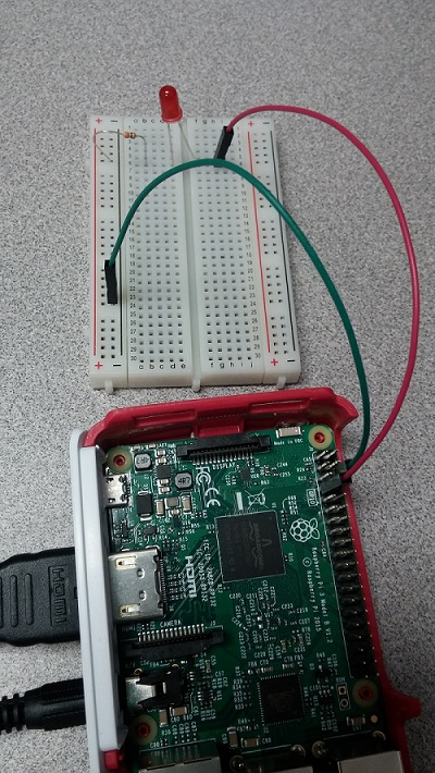 Raspberry Pi hooked up to LED and breadboard.