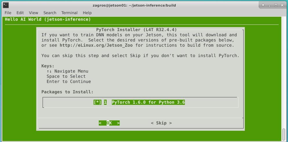 Jetson Nano Hello World Installation PyTorch Selection